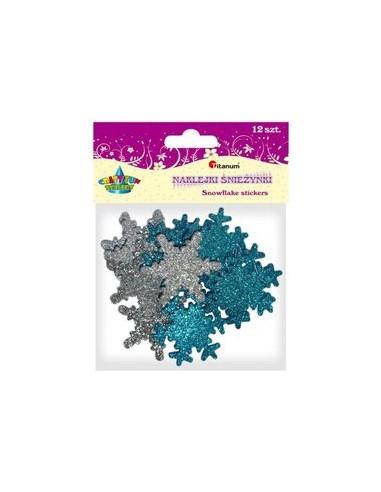 Kalėdinė dekoracija Snaigės lipdukai blizgūs 8 vnt x 5 cm - 1