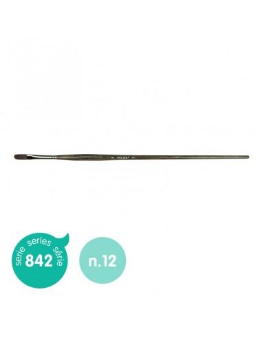 Teptukas MILAN 842 Nr. 12 plokščias sintetinis ilgu ergonominiu kotu - 1