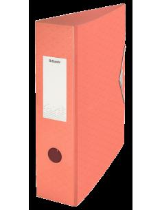 Segtuvas Esselte Colour'Ice Polyfoam A4 75 mm su svertiniu mechanizmu iš tvirto plastiko su gumele persikų spalvos - 1
