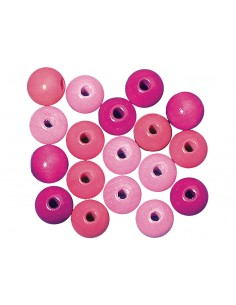 Karoliukai mediniai Rayher 12 mm rožinių atspalvių 32 vnt. - 1