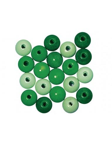 Karoliukai mediniai Rayher 12 mm žalių atspalvių 32 vnt. - 1