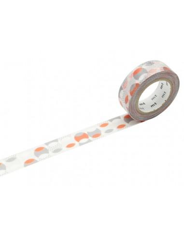 Lipni dekoratyvinė juostelė MT 1P deco 15 mm x 10 m overlapeed dot orange - 1
