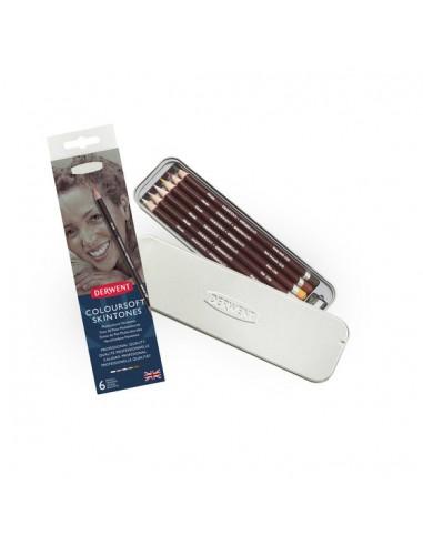 Pieštukai DERWENT Coloursoft odos atspalviai metalinėje dėžutėje 6 vnt. - 1