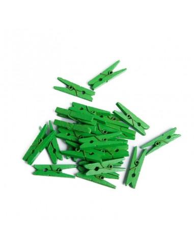Segtukai PAULA S.C. dekoratyviniai mediniai žalios spalvos 25 mm 25 vnt - 1