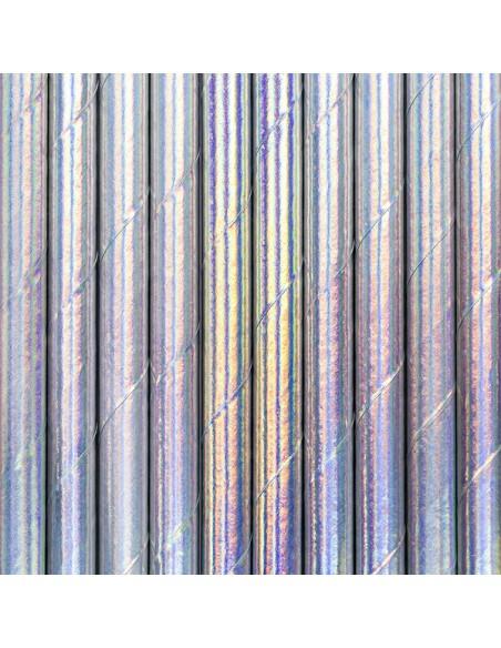 Šiaudeliai PARTY DECO 19.5 cm popieriniai vaivorykštės spalvų 10 vnt. - 2