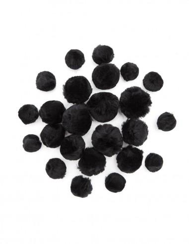 Bumbuliukai PAULA S.C. Pom-Pom akriliniai juodi 1 cm 14 g. - 1