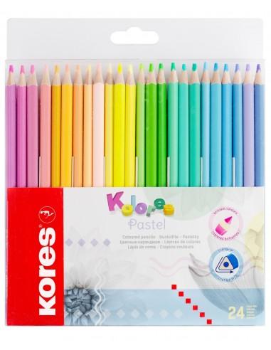Spalvoti pieštukai KORES Kolores Pastel trikampiai 24 spalvų - 1