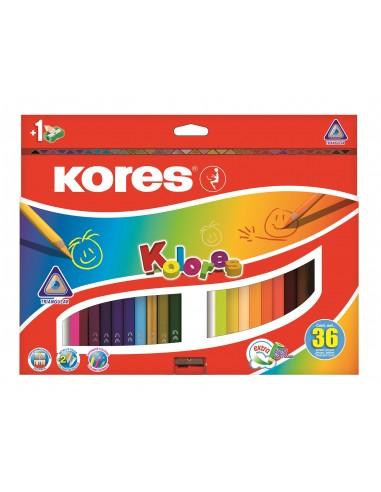 Spalvoti pieštukai KORES Kolores trikampiai su drožtukų 36 spalvų - 1