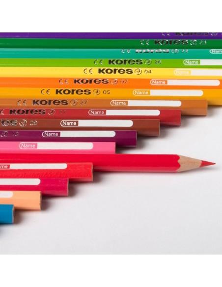 Spalvoti pieštukai KORES Kolores trikampiai su drožtukų 36 spalvų - 2